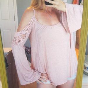 Flowy pink cold shoulder top